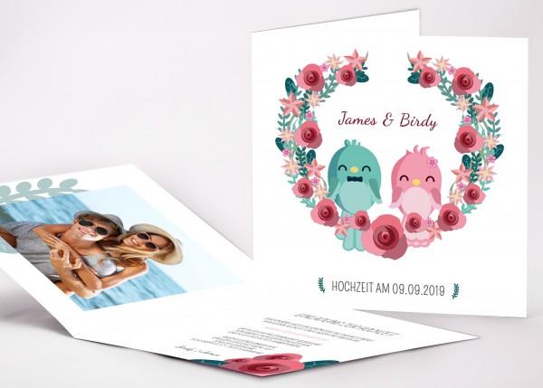 Einladungskarte Birdy