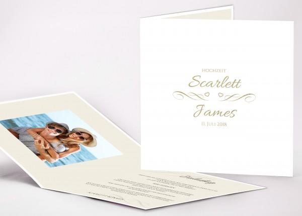Elegante Einladungskarte Scarlett für Ihre Hochzeit in Farbe weiß