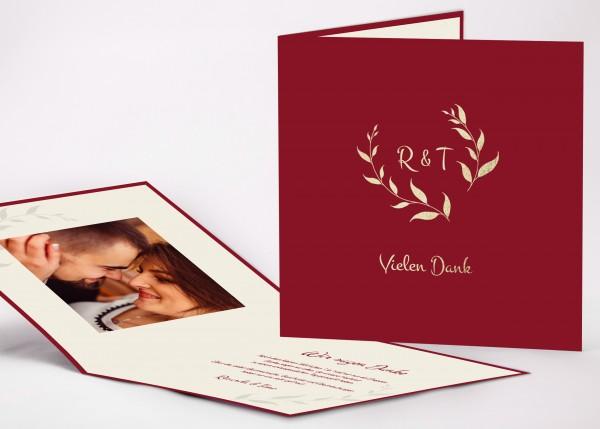 Elegante Danksagungskarte Ricarda für Ihre Hochzeit in Farbe bordeaux