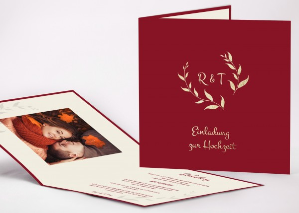 Elegante Einladungskarte Ricarda für Ihre Hochzeit in Farbe bordeaux