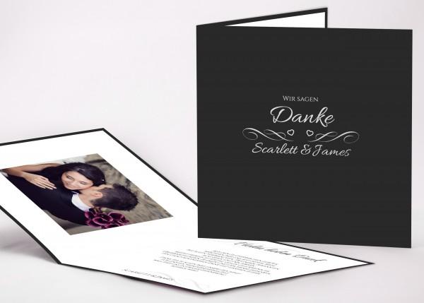 Elegante Danksagungskarte Scarlett für Ihre Hochzeit in Farbe anthrazit