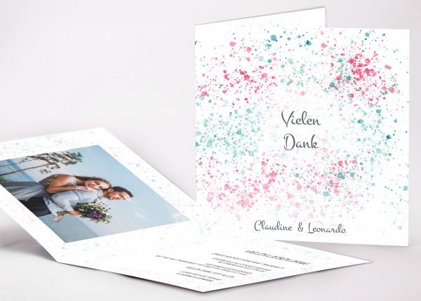 Elegante Danksagungskarte Claudine für Ihre Hochzeit in Farbe lagoon