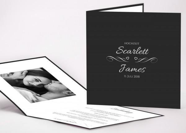 Elegante Einladungskarte Scarlett für Ihre Hochzeit in Farbe anthrazit