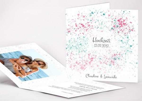 Elegante Einladungskarte Claudine für Ihre Hochzeit in Farbe lagoon